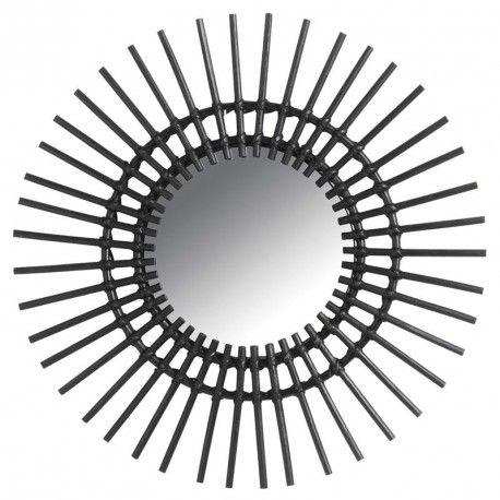 dad8d6b297c5f8 Miroir soleil en rotin noir - Dimensions  Ø 60 cm - Diamètre miroir   25 cm  - Marque Aubry Gaspard