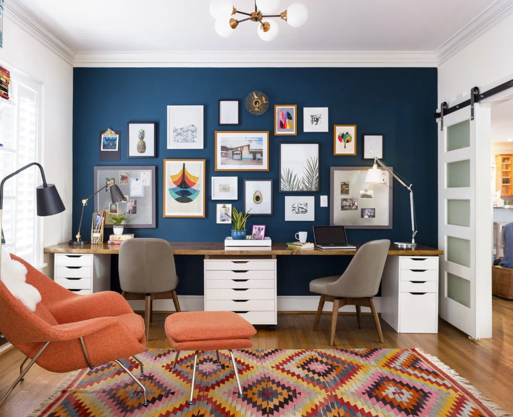 6 Steps To Creating A Happy Home Office Designer Tips You Need Right Now In Form Design Mak Blue Home Offices Office Interior Design Home Office Cabinets