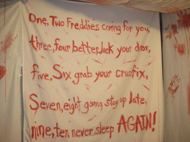 Haunted House Hallway Idea With Scary Sayings And Strobe Light