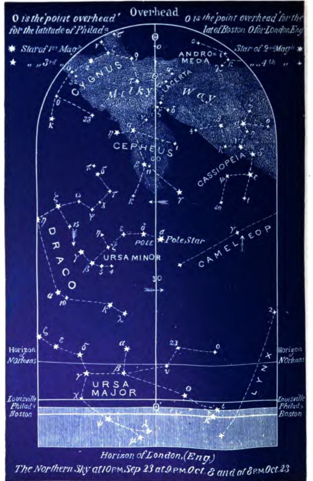 The Northern Constellation Map For October From Easy Star
