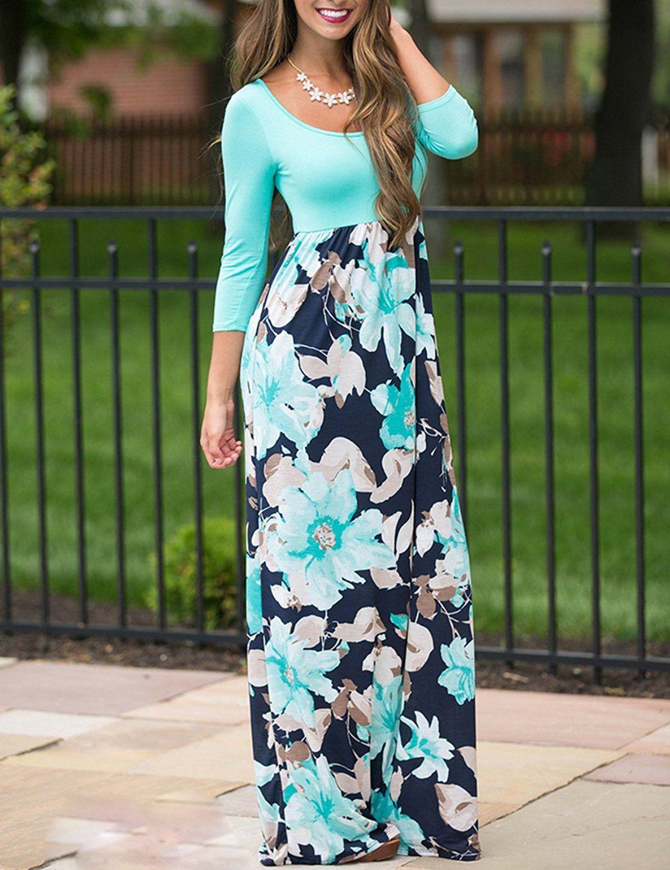 4ebb779bf44 DUNEA Women s Maxi Dress Floral Printed Autumn 3 4 Sleeve Casual Tunic Long  Maxi Dress
