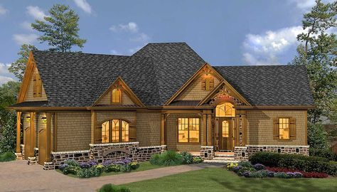 Plan 15887ge Rustic Hip Roof 3 Bed House Plan Craftsman House Plans Craftsman Style House Plans Craftsman House