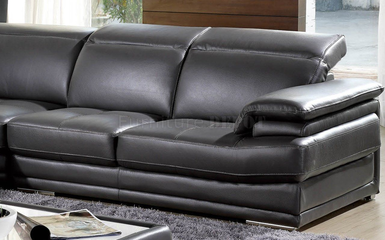 Charcoal leather sofa recliner dark grey full genuine for Leather reclining sofa