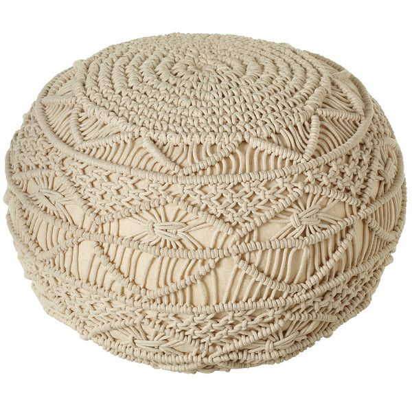 Midwest-CBK Hand-Woven Macramé Pouf ($130) ❤ liked on Polyvore ...
