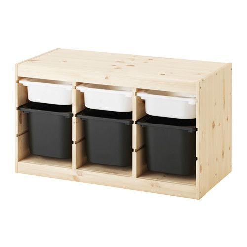 TROFAST Storage combination with boxes, pine white, black pine white ...