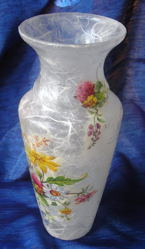 Glass vase decorated with decoupage technique, painted with