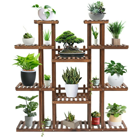 7 Tier Augienb Wooden Flower Stand Rolling Flower Plant Display Stand Shelf Ladder Stand For Living Room Balcony Patio Yard Indoors Outdoors Ample For 17 Pots Flower Stands Wooden Flowers Wood