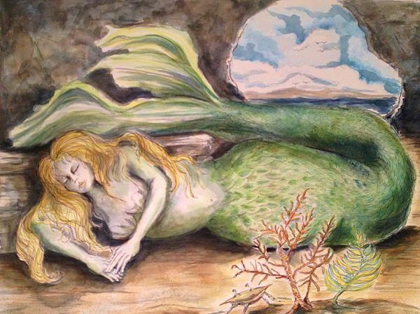 Mermaid Dreams Watercolor on Paper by C Stephenson-Gibbs
