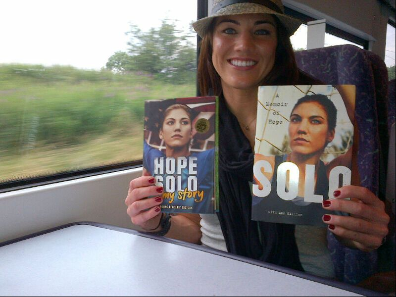 'Just catching up on some reading on the train to Manchester! (Hope Solo/WhoSay)