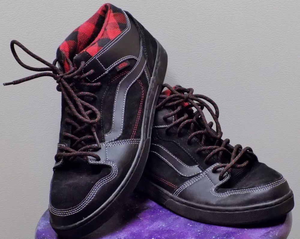 f8eceb8863 Vans Men s VANS EDGEMONT (PLAID) SKATE SHOES 11.5 (BLACK RED BLACK)  VANS   SkateShoes