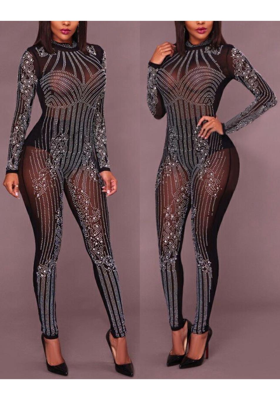 Black Mosaic Rhinestone Grenadine Sparkly Glitter Bodysuit Romper High  Waisted Clubwear Long Jumpsuit 0c6654a25