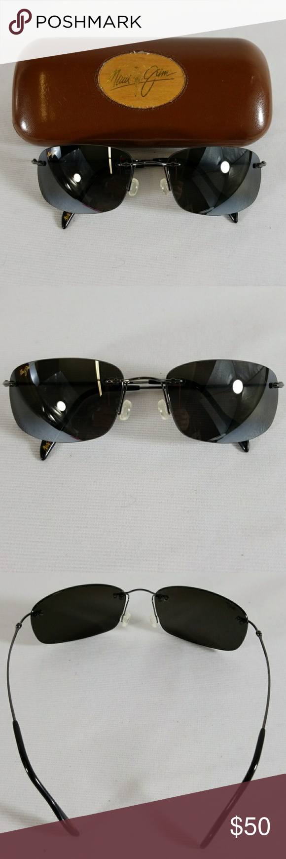 ee6c5a64f1f Maui Jim black sunglasses with brown case Mavi Jim black frameless  sunglasses with brown case. MJ-311-02. A minor crack inside the case as  seen on picture.