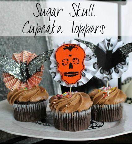 Sugar Skulls Halloween Party Decor Skull cupcakes, Sugar skulls - cake decorations for halloween
