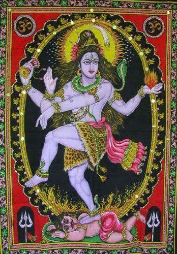 Hindu Death Goddess Kali Shiva Sequin Wall Hanging Ethnic Decor Batik Tapestry