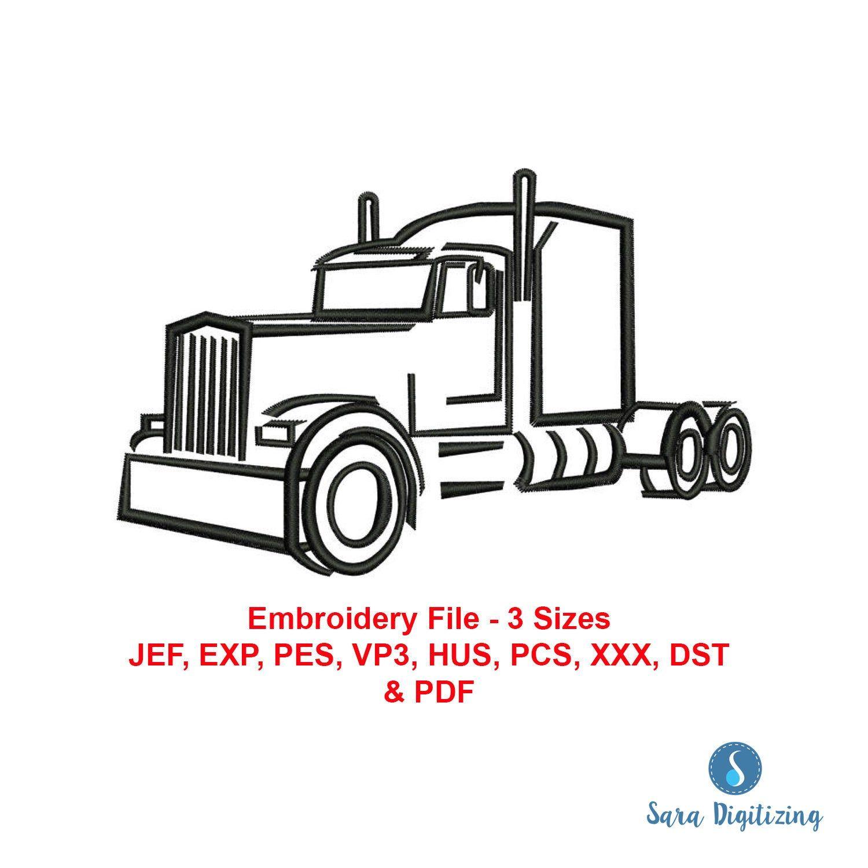 Semi Trailer Truck Machine Embroidery Design Semi Tractor Etsy In 2020 Semi Trailer Truck Semi Trailer Embroidery