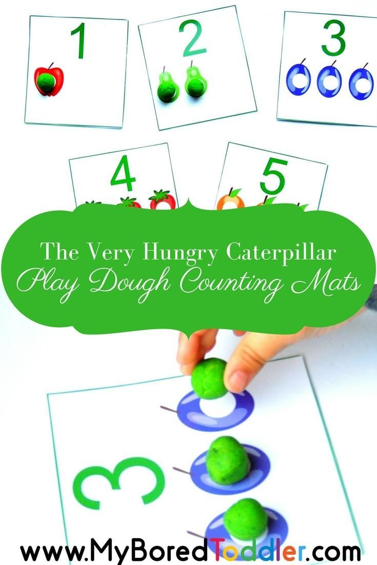 The very hungry caterpillar counting mats - a great play dough mat for teaching counting and number recogntion for toddlers and preschoolers. math for toddlers, counting for toddlers, play doh fun for toddlers, fine motor skills for toddlers