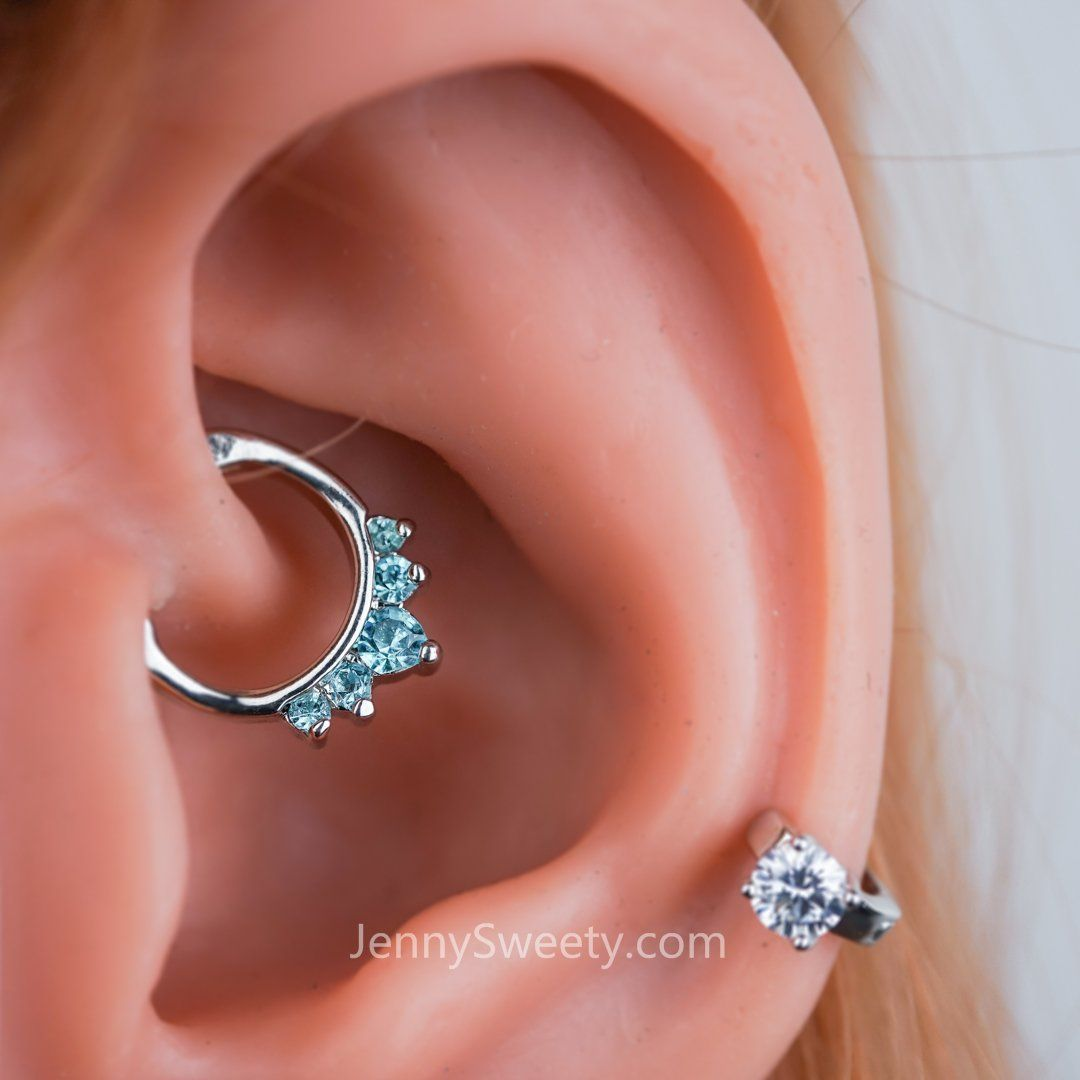 Best nose piercing jewelry  Sparkel Zircon Daith Earring Cartilage Septum Ring  To pierce or