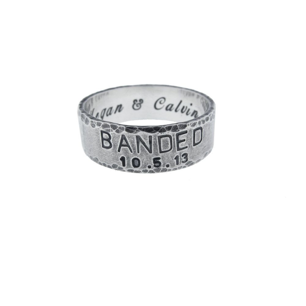 Custom Sterling Silver Banded Wedding Ring Personalized Solid