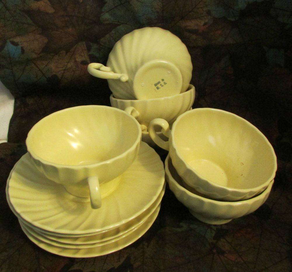 VINTAGE FRANCISCAN WARE CORONADO SWIRL 6 CUPS & 5 SAUCERS | dishes ...