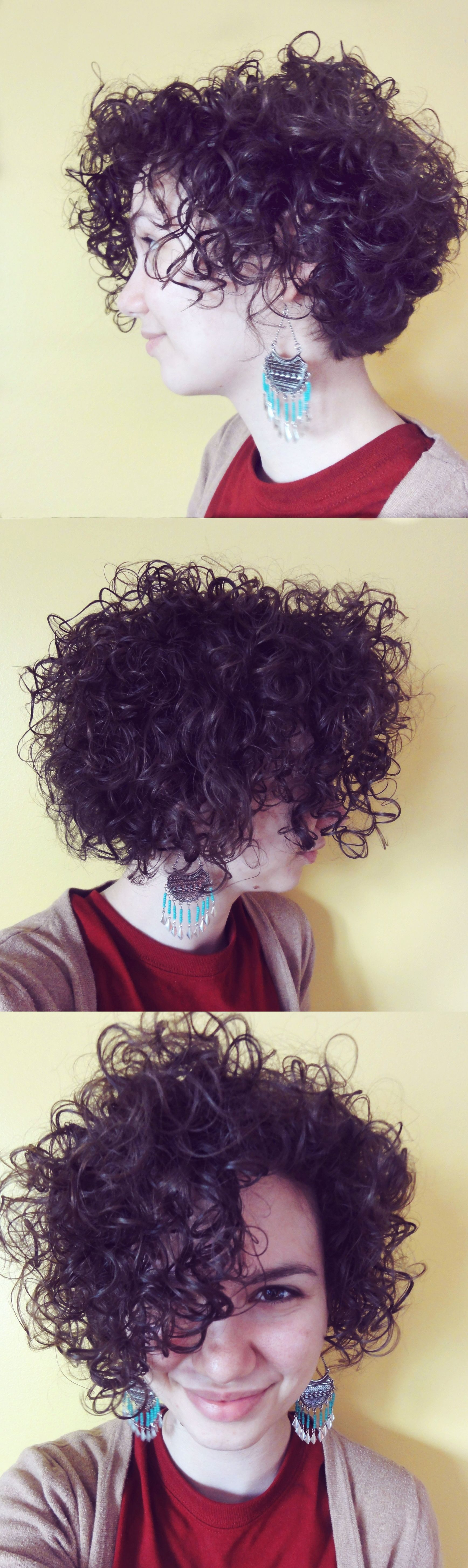 Short and curly inverted bob cut to appear