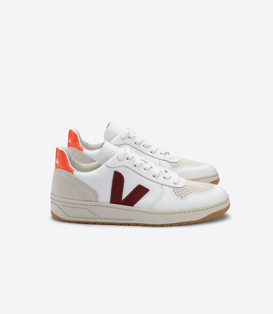 V10 suede white marsala orange Modèle en cuir, Basket