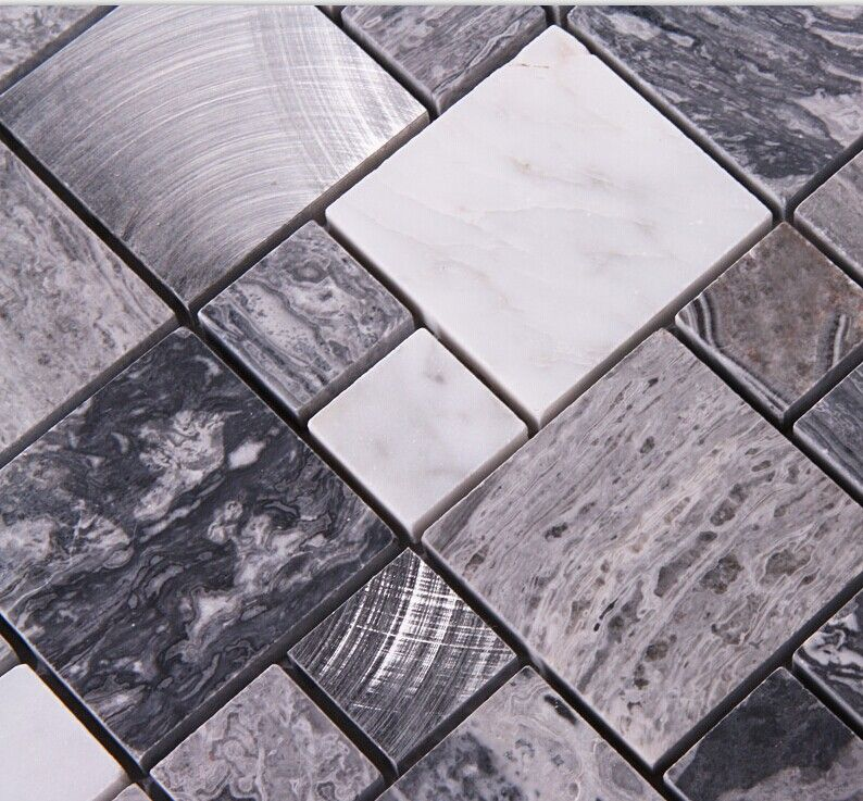 Stone Mosaic Tile Square Grey Marble Floor Tiles Metal And Stone Stone Mosaic Tile Metallic Wall Tiles Stone Mosaic Wall