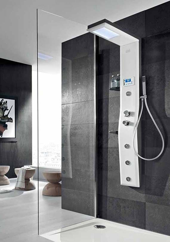 Thermostatic shower column with hydrotherapy, chromatherapy controlled by a digital display and radio