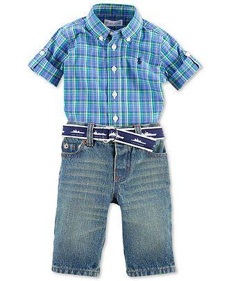 Ralph Lauren Baby Set Baby Boys 2 Piece Shirt And Jeans Kids