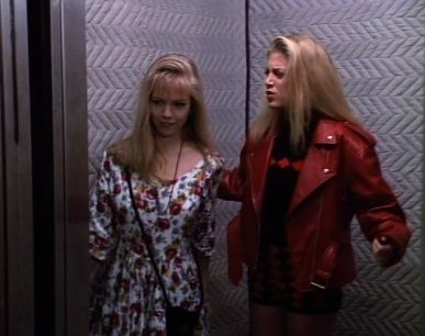 "DONNA'S RED ""I'm about to discover my mothers torrid affair while wearing coochie cutters and stalking Color Me Badd"" MOTO JACKET. GOOD GOD. Also: KTay's dress is pretty cute."