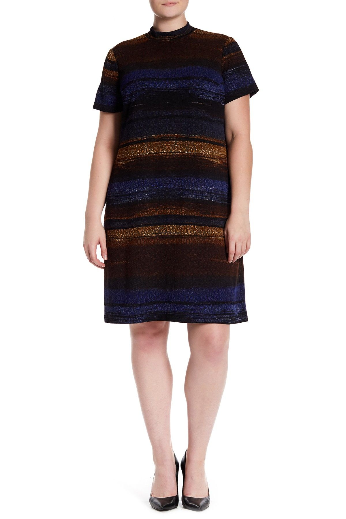 London times autumn ombre stripe short sleeve print dress plus