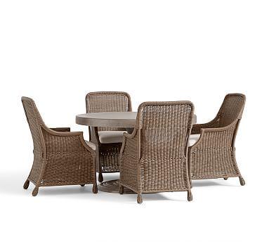 Geneva Concrete Round Fixed Dining Table & Saybrook Armchair Set #potterybarn