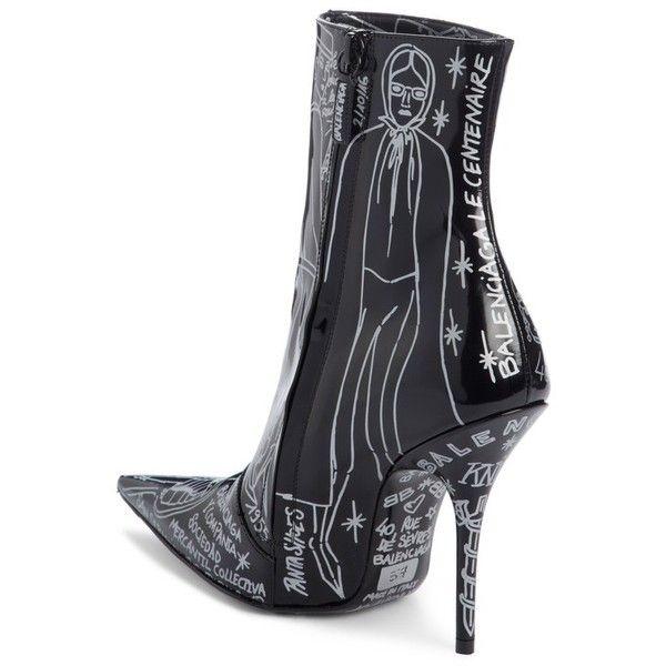 BalenciagaWomen's Print Pointy Toe Bootie vAnbLE5Wab
