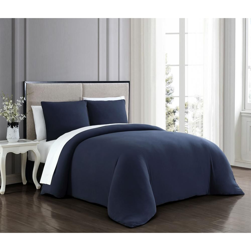 Gweneth 3-Piece Navy King Super Soft Comforter Set GWE3CSKINGGHNV - The Home Depot