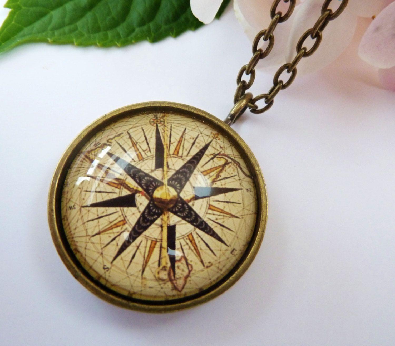 2017 Women Compass Necklace Silver Charm Navigation Graduation Pendant