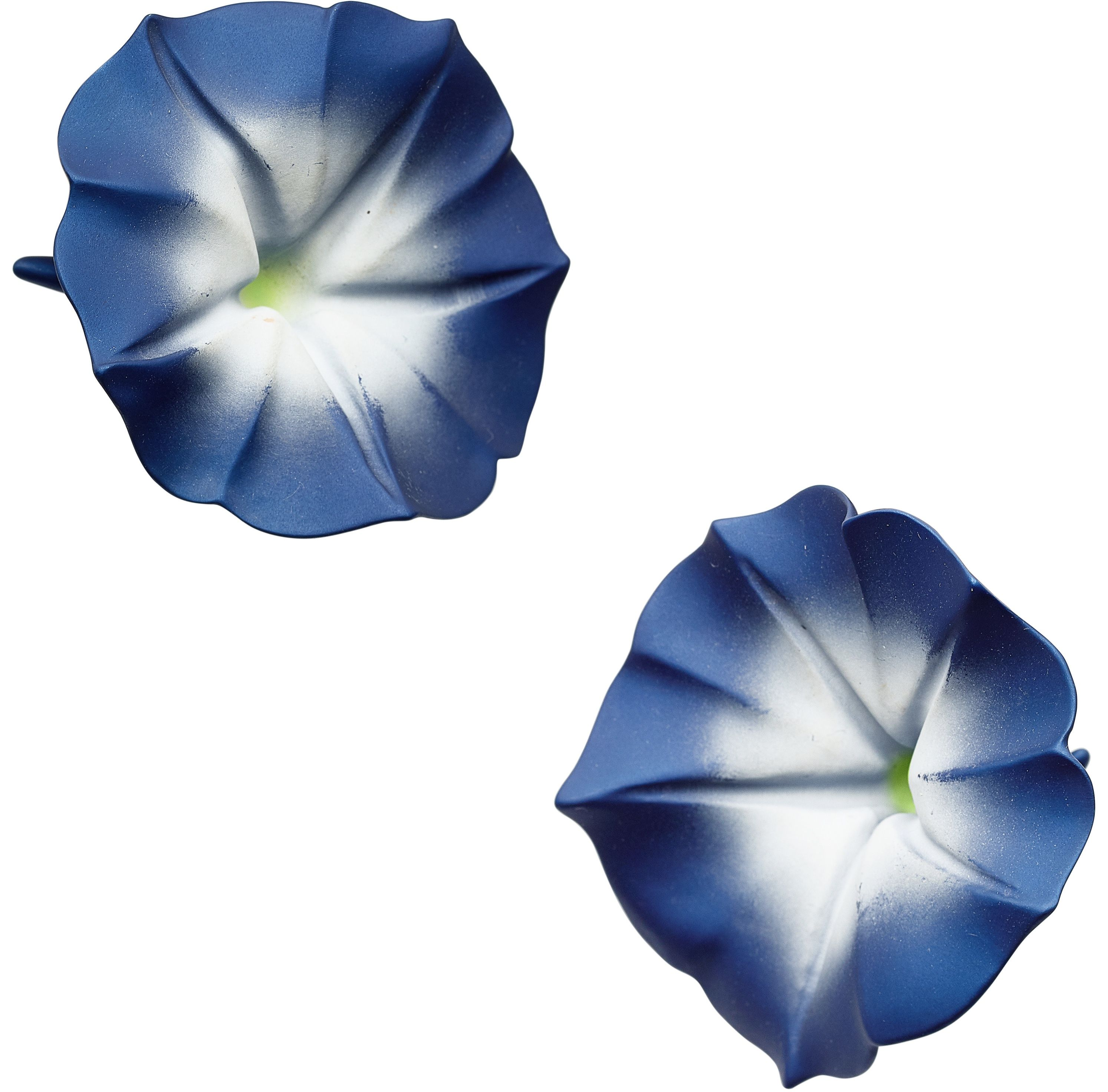 The Aluminium Morning Glory Earrings Are Completed By 18k Gold Omega Clips