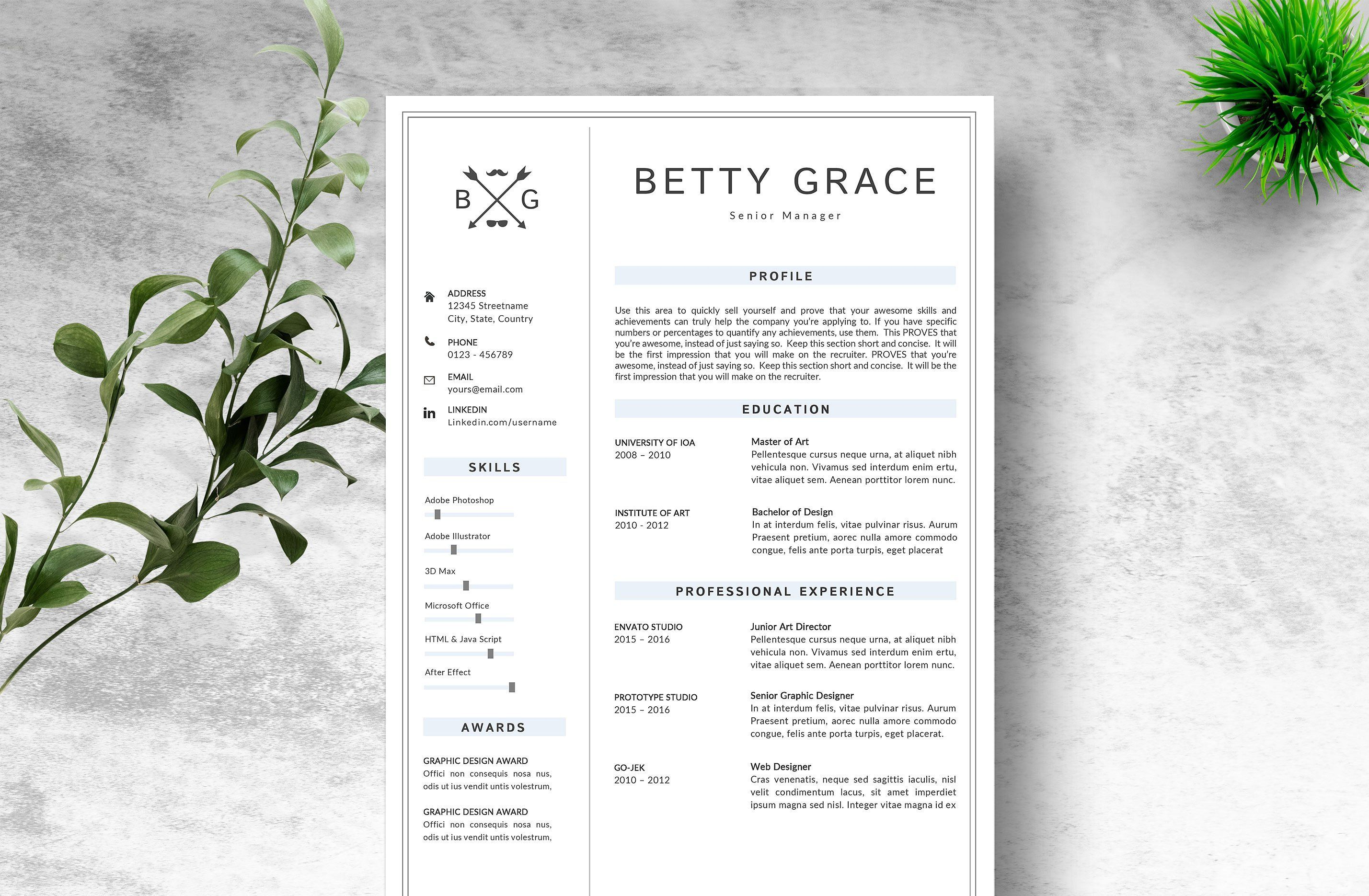 Creative Resume Template By Myresume On Creativemarket Graphicdesign Art Design Illustration Cr Creative Resume Templates Resume Template Creative Resume