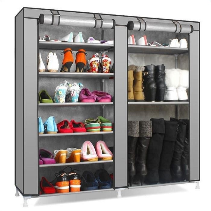Porch & Den Palermo Grey Non-woven Fabric Covered 7-tier Portable Shoe Rack, Gray