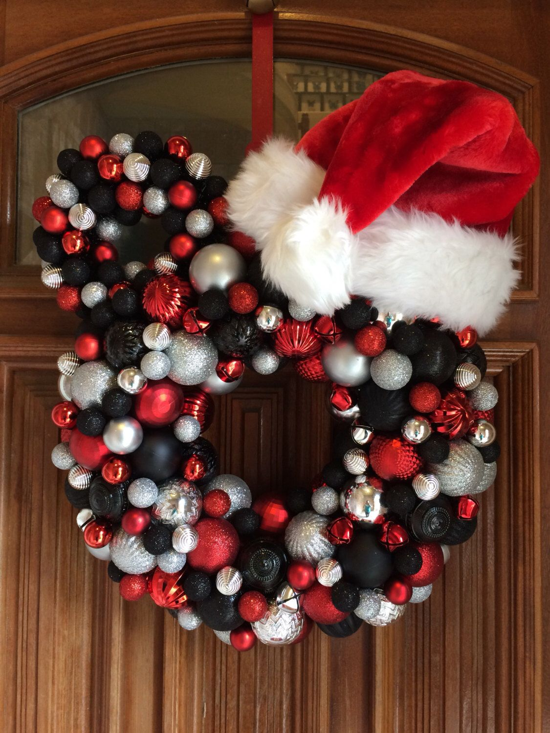 Mickey Christmas Wreath, Mickey Mouse, Disney Holiday Wreath, Red, Silver, and Black Ornament Mickey Mouse Wreath, Bauble Wreath