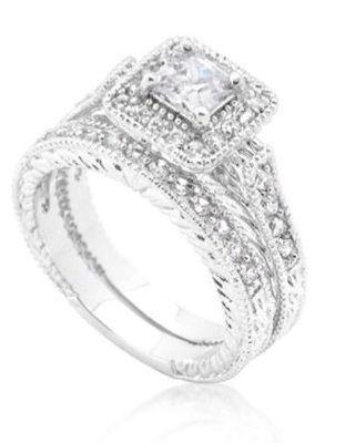 3 9 Ct Cz Art Deco Filigree Princess Pave Wedding Engagement Ring Set Size