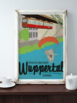 wuppertal tuffi poster illustration schwebebahn sch nes f r die wand pinterest wuppertal. Black Bedroom Furniture Sets. Home Design Ideas