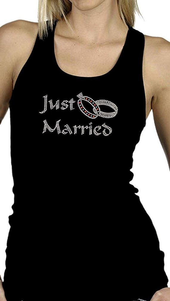 Just Married crystal/rhinestone shirt or by KarmaCrystal on Etsy, $24.00