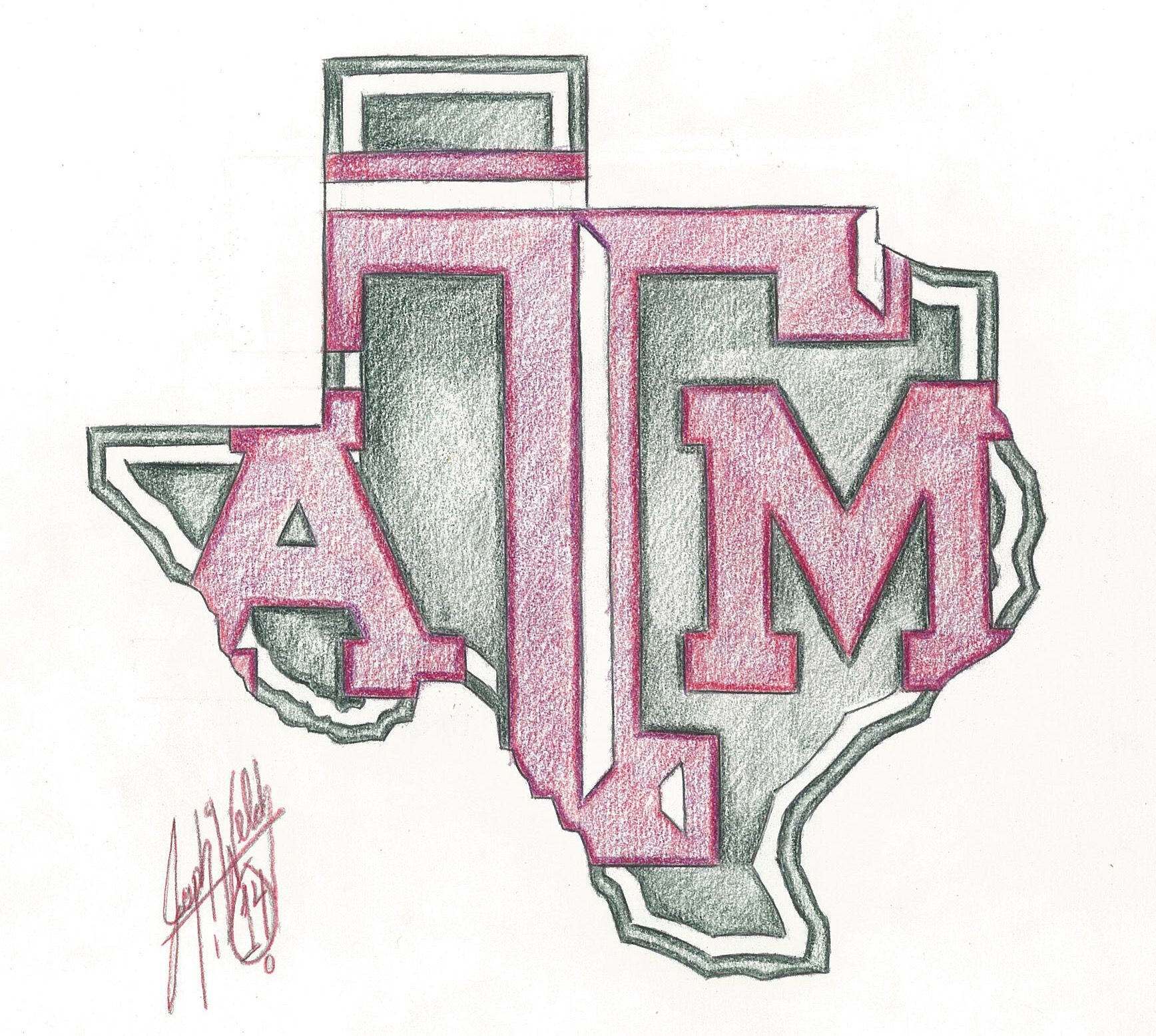 Texas A M Aggies Drawings Art Fine Art