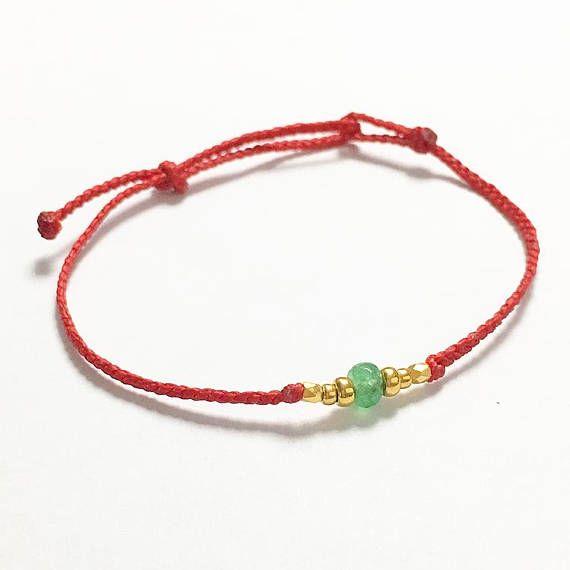 Waxed Red Bracelet Green Jade String Friendship Best