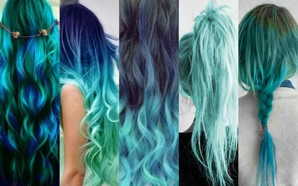 Omg I love all of these shades #bluehair #turqoise #hair