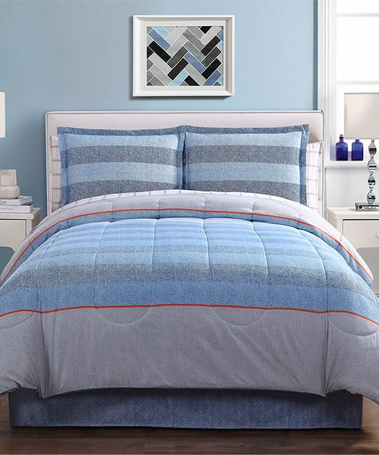 Light Blue Azore Eight-Piece Comforter Set