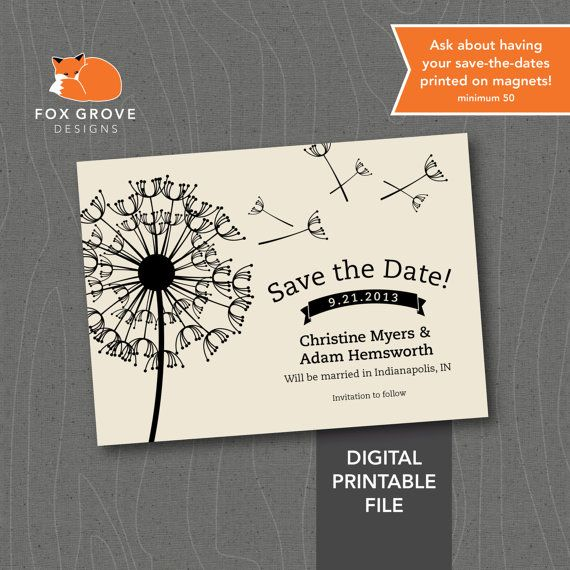 """Wedding Save-The-Date """"Dandelion"""" / Customized Printable Digital File / Printing Services Available on Etsy, $15.00"""