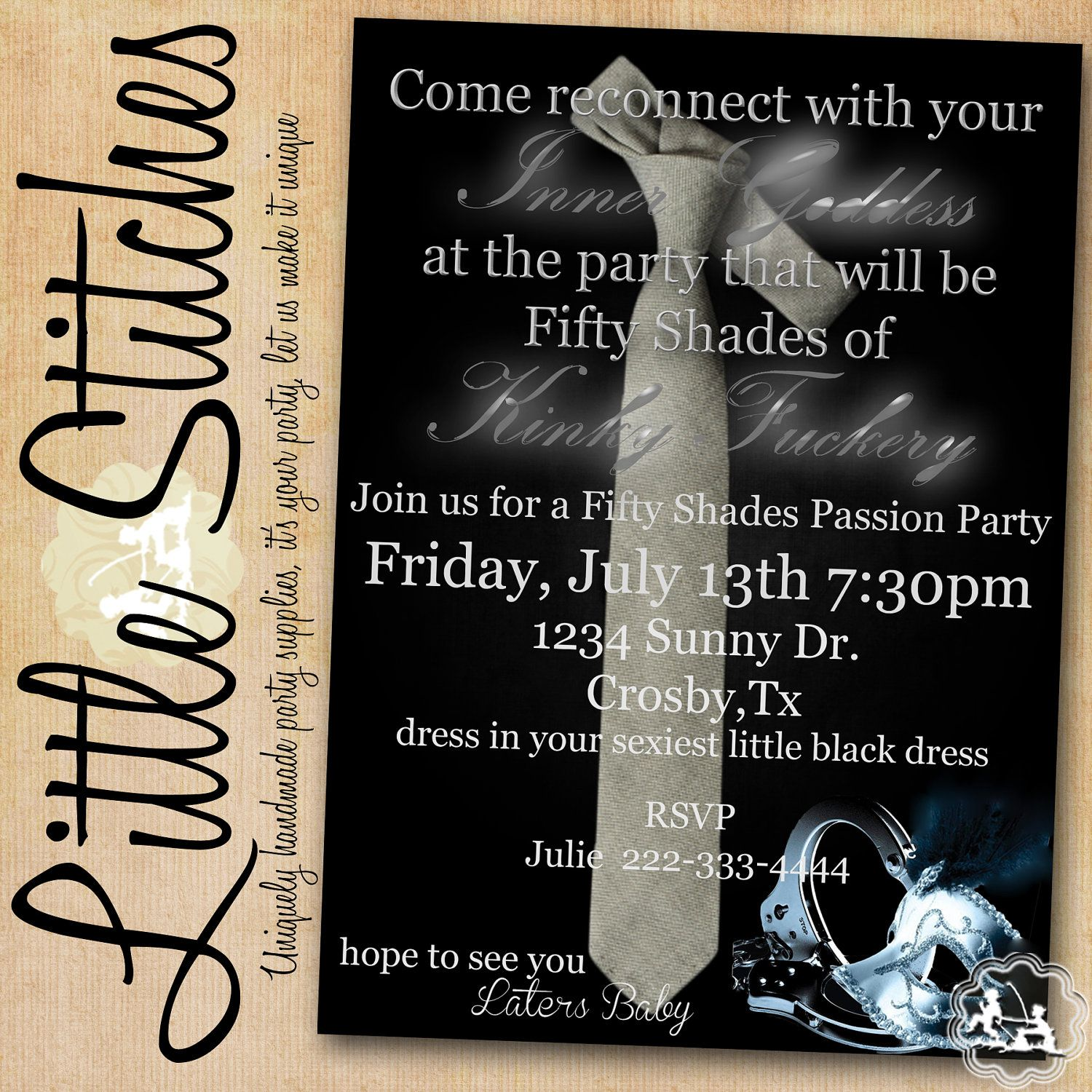 Fifty Shades Of Grey Invitation As Seen On By Shoplittlestitches