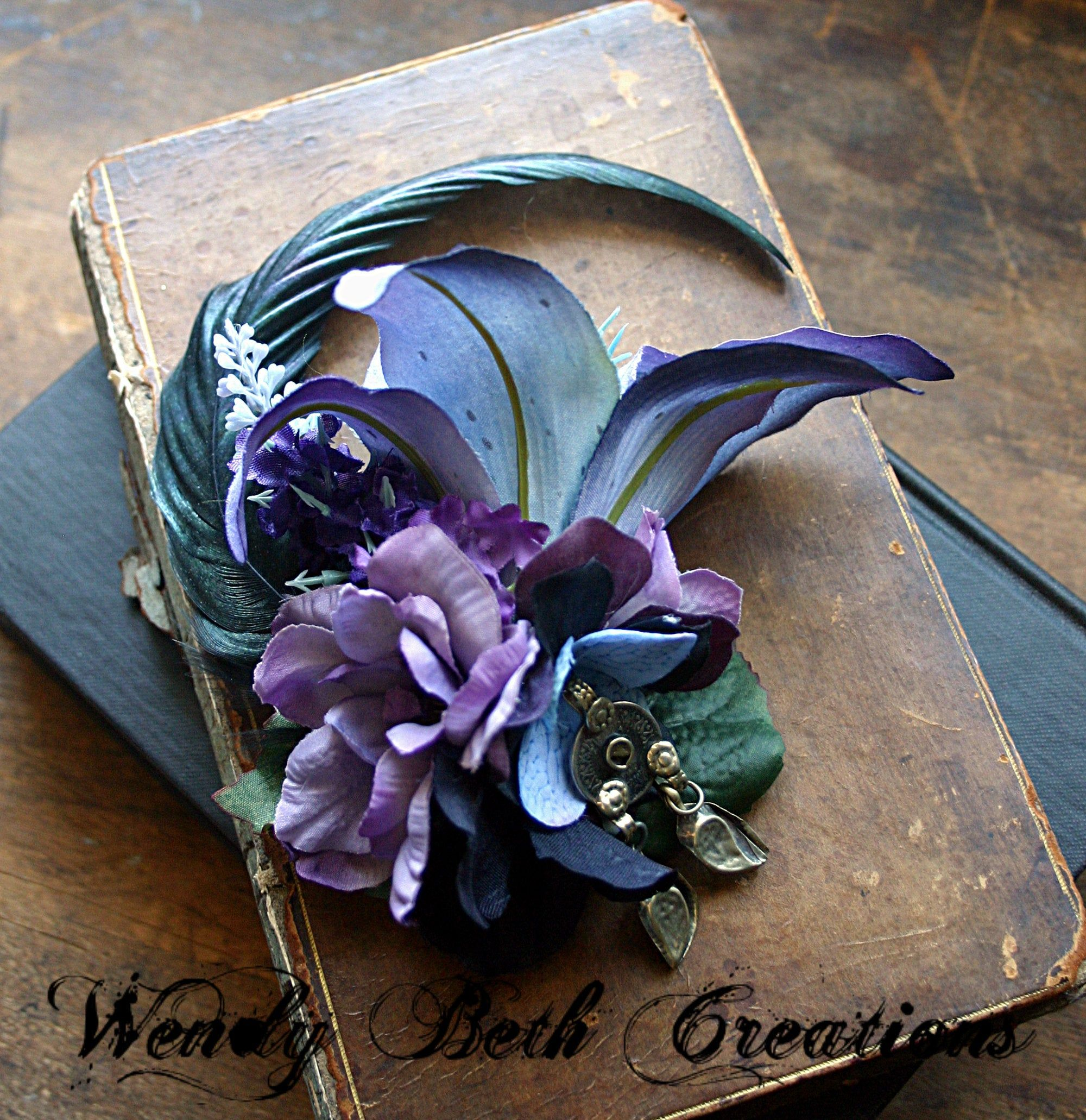 Tribal Lily Blue and Purple Lily With Kuchi Turkoman Medallion Hair Fascinator Clip or Hat Adornment #fascinatorstyles