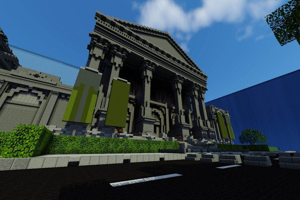 Videogame in stile Minecraft per la Tate Gallery di Londra, 2014: Esterno della Tate Gallery riprogettato nella mappa