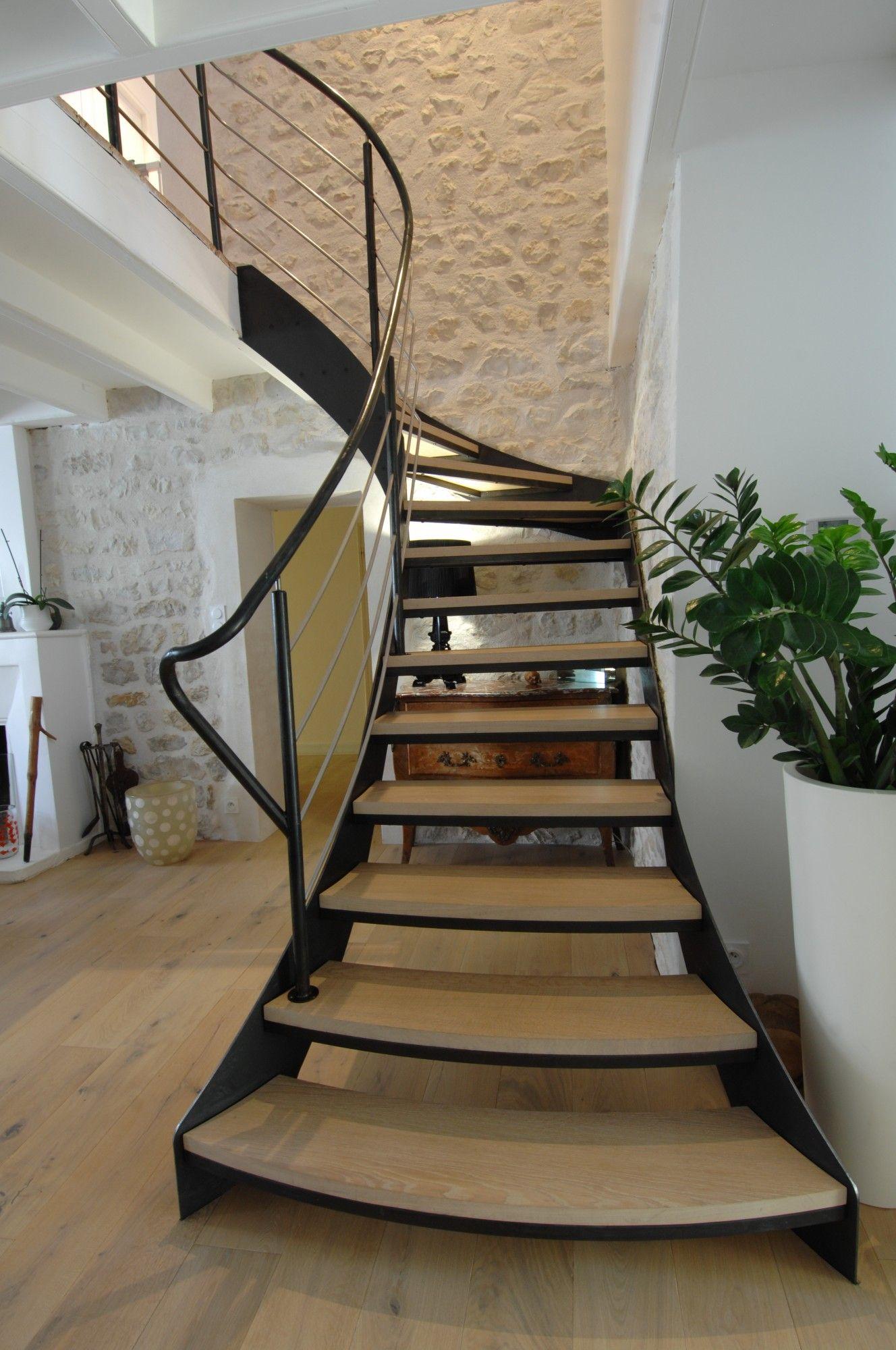 Best Escalier Escalier 1 4 Tournant Limon Acier Marche Chêne 400 x 300